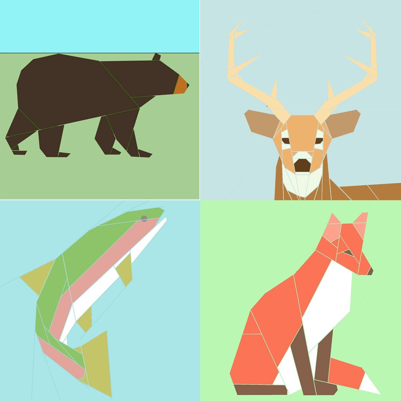 Set Of 4 Wildlife Paper Piecing Patterns Pdf