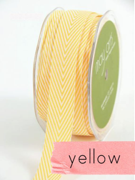 chevron twill tape, yellow, 2 yards