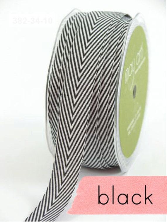 chevron twill tape,black, 2 yards