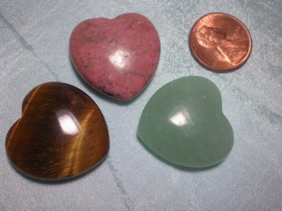 Three Gemstone Hearts, Green Aventurine, Tiger Eye, Rhodonite, Wire Wrapping, Prosperity, Protection and Emotional Healing