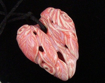 Pink porcelain hand carved reversable heart pendant necklace on satin cord