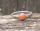 Coral Sterling Silver Stacking Ring