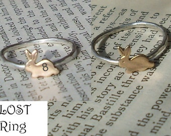 Tiny Bunny- Sterling Silver and Brass -Stacking Ring- LOST Sawyers Rabbit ring