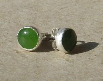 Nephrite Jade Sterling Silver Earrings