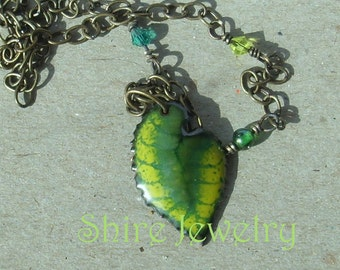 Leaf necklace- Enameled Necklace
