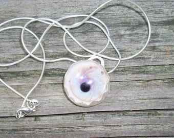 Pink Glass Eye Necklace set in sterling silver