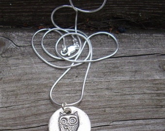 Sterling Silver Hoot Owl Necklace S103