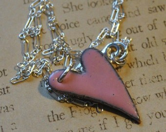 Handmade Pink Enameled heart necklace    E502