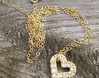 Gold Swarovski Valentine Heart Necklace
