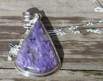 Purple Charoite Pendant Necklace