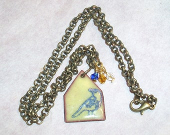 Bird in a House- enameled necklace     T110