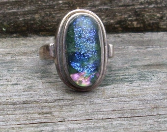 Glass Cabochon Ring  Dichroic glass
