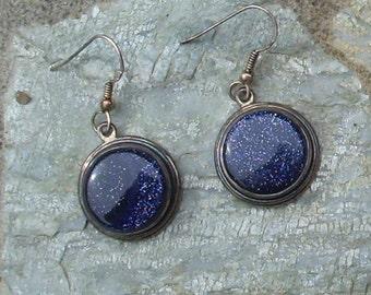 Blue Gold Stone Earrings     003