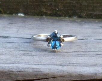London Blue Topaz oval gem sterling silver ring