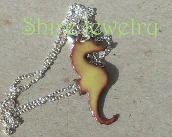 Sea Horse  necklace- Enameled Necklace