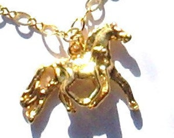 Heavy gold plated Mare and foal on Gold filled chain