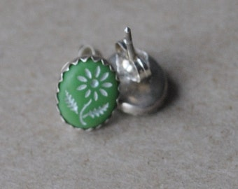 Green and White Vintage Intaglio Flower Cabochons set in Sterling Silver