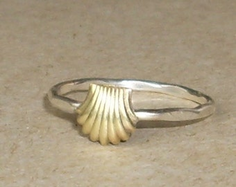 Shell- Sterling Silver and Brass -Stacking Ring
