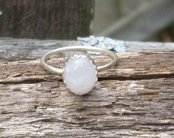 Oval Rainbow Moonstone Sterling Silver Stacking Ring