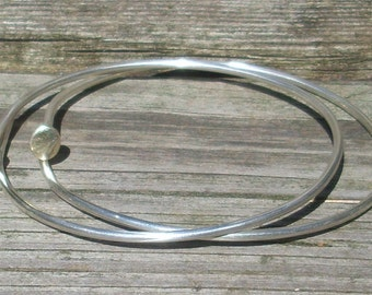 Sterling Silver Nail Bangle Bracelet