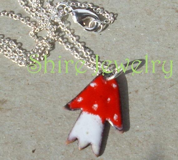 Mushroom necklace- Enameled Necklace