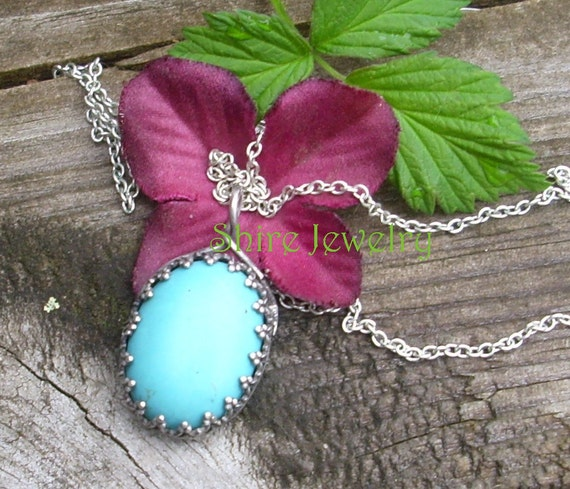 Sterling and Turquoise in a Crown Bezel