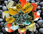 Starbucks, Crayola, and Floral Recycled Metal Flower Brooch