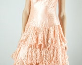 R E S E R V E D - For Mary Prusa - Beautiful 1980s Peachy Lace Tiered Dress Long Small