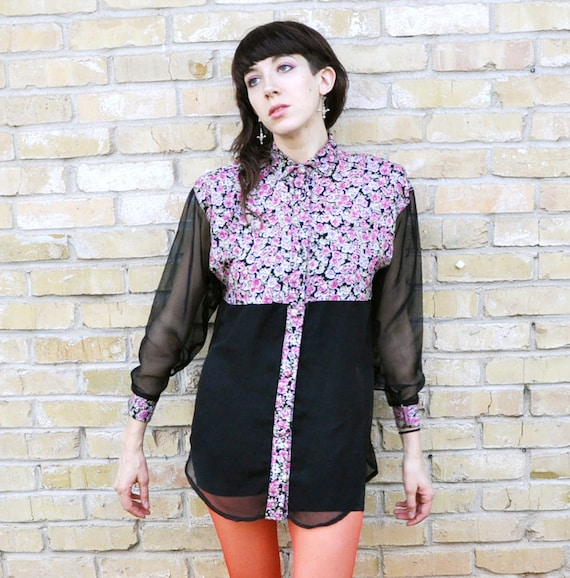 90s Oversized Floral and Sheer Blouse Size Small Medium