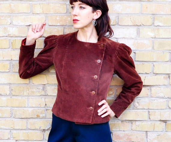 Vintage Brown Corduroy Jacket Womens Medium