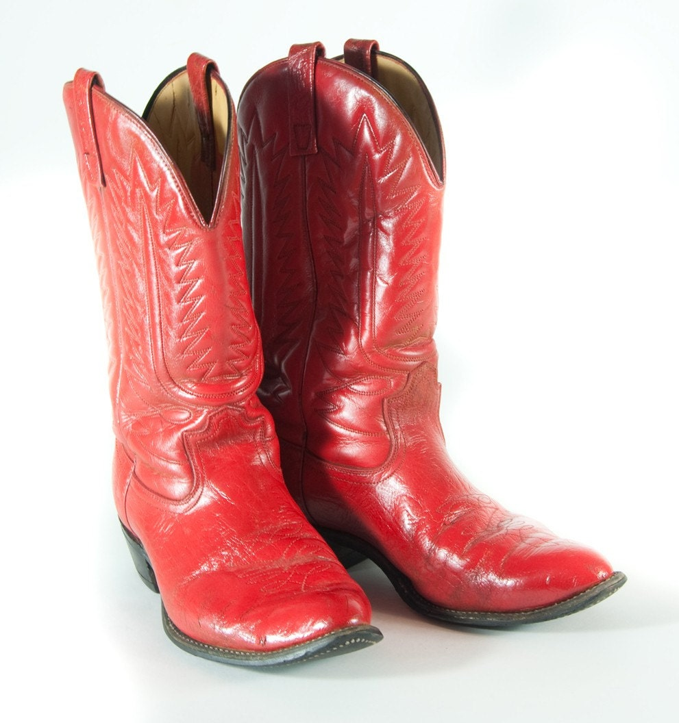 Bright Red Mens Cowboy Boots 12 D Flashy