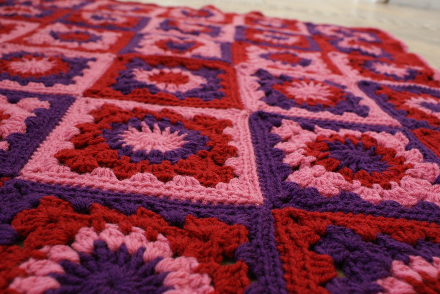 Pink Purple And Red Flower Granny Squares Crochet Afghan