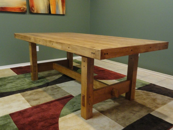 items similar to craftsman style dining table featuring a bowling lane top on etsy. Black Bedroom Furniture Sets. Home Design Ideas
