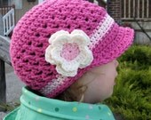 Toddler Crochet Hat with Visor - Hot Pink - Ready to Ship