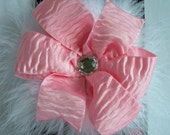 Hair Bow - Pinwheel - Light Pink Satin Bark with White Marabou and Rhinestone Accent - Easter