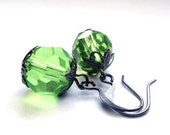 Green earrings - peridot kiwi lime glass jewelry - gift for her - dangle, drop, grey, stocking stuffer under 25