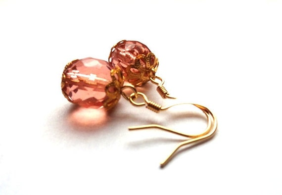 Peach drop earrings - pink champagne faceted glass