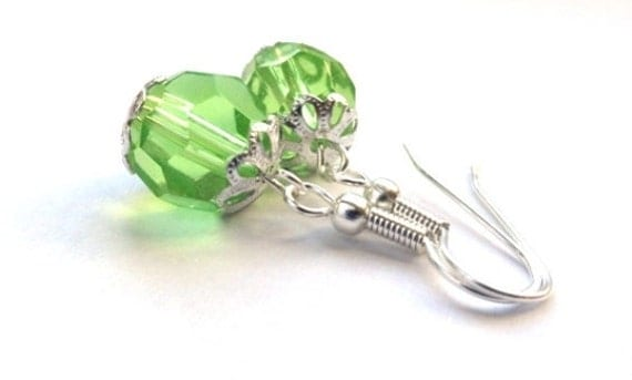 Green drop earrings - lime dangles, jewelry gift for her under 25,  avocado, kiwi colors - disco ball