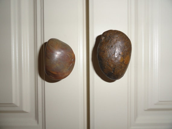 Cabinet /Drawer Pull - Handmade -Tumbled Stone - NEW Price for sets of two
