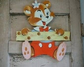 Hey Teddy--Fun Bear Coat or Hat Rack--Retro Nursery Ready