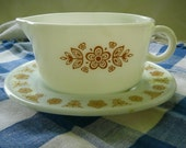 Pyrex--Vintage Gravy Boat and Underplate