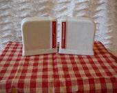 Art Deco Salt & Pepper Shaker Set:  Stylized Red Lettering