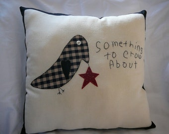 Feedsack Pillow--Hand Appliqued and Embroidered with Primitive Crow