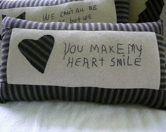 Pillow--Primitive Appliqued Heart and Embroidered Sentiment