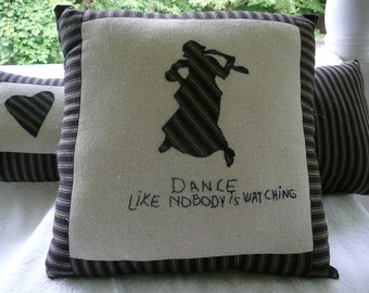 Pillow:  Appliqued Silhouette Dancer