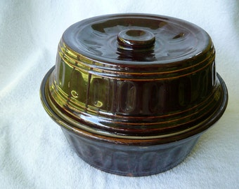 Stoneware Covered Bowl--Deep Chocolate Brown Dutch Oven Casserole Dish