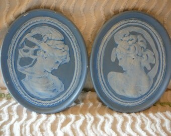 Chalkware:  Handpainted, Classic Grecian Ladies Wall Art