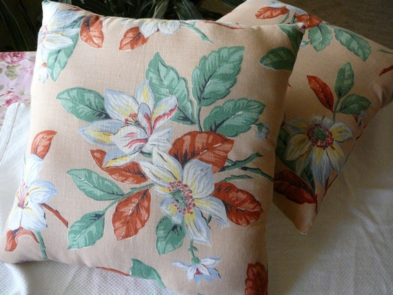 Handmade Pillow Pair--Vintage Fabric--Floral Cottage Style