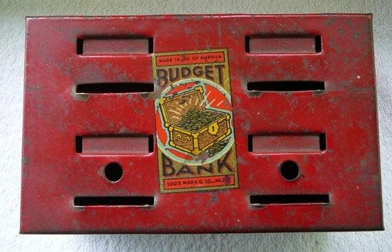 Metal Savings Bank--Vintage Small Red  Budget Bank, Toy Bank