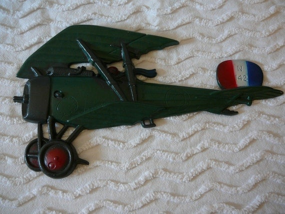 Airplane Wall Decor:  WWI French Fighter Ace and Bi-plane--cast metal